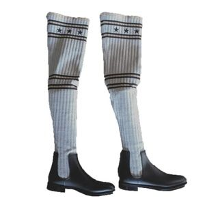Givenchy Black Storm Over the Knee Knit Rain Boot